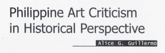 Philippine Art Criticism in Historical Perspective