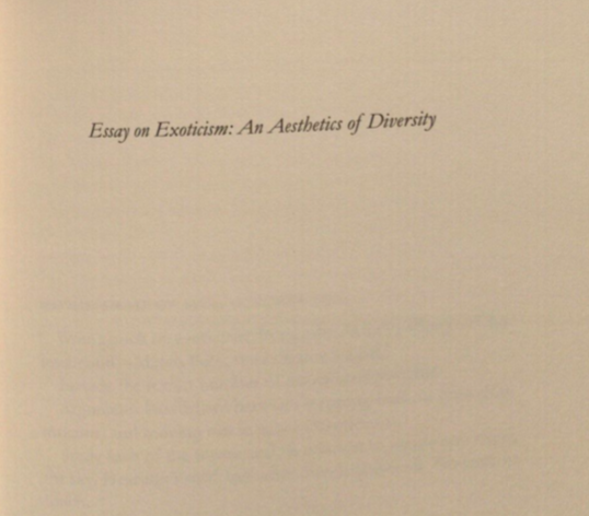 Essay on Exoticism: An Aesthetics of Diversity