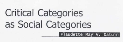 Critical Categories as Social Categories