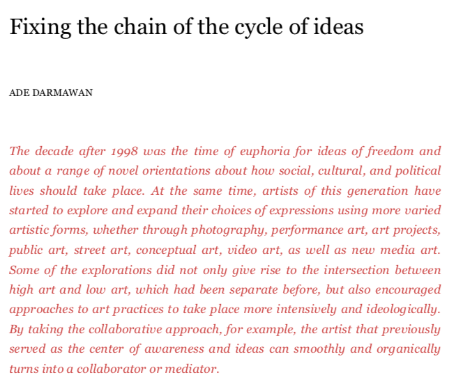 Fixing the chain of the cycle of ideas